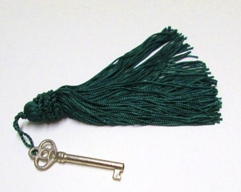 Tassels 4 Long Chainette Drapery Lamp Tassels, Key Fobs 5 Inch Lg Bell Tassels Purse Pillow Trim, Costume Dark Green Gift Embellishment