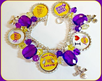 LA Lakers Charm Bracelet Unique Custom made Sports & Themed Jewelry nfl.ncaa,nba,mlb,nhl,nascar, NBA Charm Bracelet