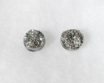 Silver and Pewter Faux Druzy 12 mm Earrings