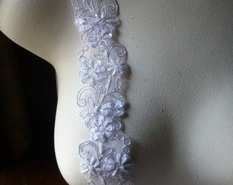 """18"""" Silver White Beaded Trim for Bridal, Lyrical Dance, Costume or Jewelry Design, Crafts"""