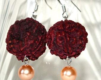 Rudraksha Earrings / Ethnic earrings / Spiritual / Meditation/ dangle earrings/ pearl earrings/Yoga jewelry