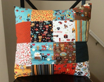 Max and Whiskers Patchwork Pillow Cover -- 18 Inch