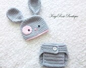 Newborn Baby Girl Easter Bunny Hat and Diaper Cover Set Gray and Pink