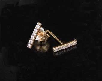 Tiny Diamond Bar Earrings - 14kt Solid Gold