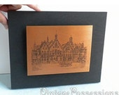 Copper Etching Picture - Old European Town - Germany, Hesse, Frankfurt, Römerberg Town Square Plaza with Justice Well and City Hall