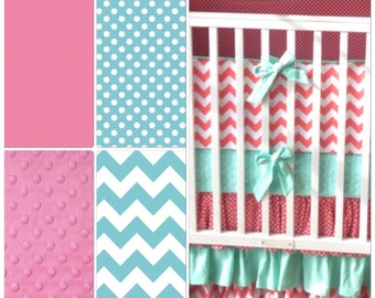 Pink and Aqua Crib Bedding Modern Ruffles Made to Order