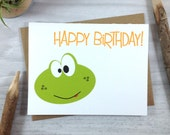Childrens Green Frog Happy Birthday Greeting Card - Swamp Reptile Card - Single