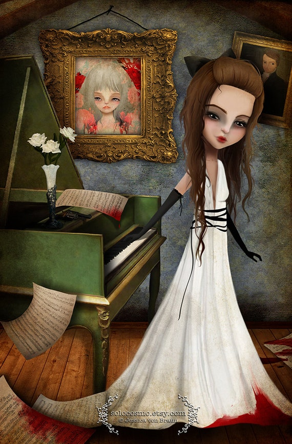 Fine art print - 'Elizabeth Killbride' - 8x10, 8.5x11 medium to large girl print - Creepy Cute Lowbrow Artwork - Pianist - Piano Player
