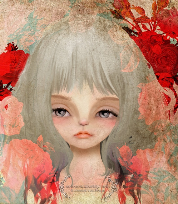 Fine Art Print - 'Lady of the Roses' - Big Eye Girl Artwork - Digital Collage Work - Red and Pink - 8x10/8.5x11