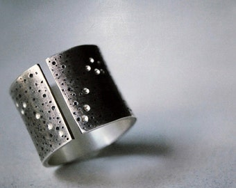 Statement Ring Wide Band- Daydreamer Constellation Ring- with Custom Star Sign Constellation