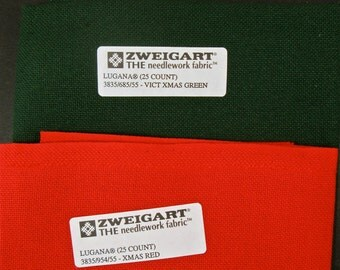 """Two (2) 18.5"""" by 27"""" pieces of  Zweigart """"Lugana"""" 25-count evenweave fabric for Christmas needlework"""
