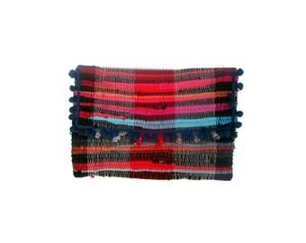Pom Pom Envelope Clutch. Boho Chic Large Kilim Purse. Colorful Womens Gift. Hippie Bag. Kourelou Bohemian Clutch Bag. Gift for Her.