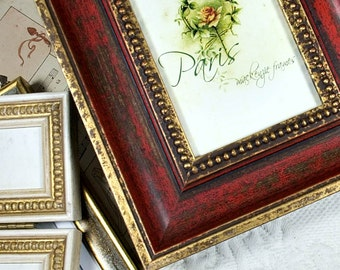 4x6 Antique Style Red and Gold Frame