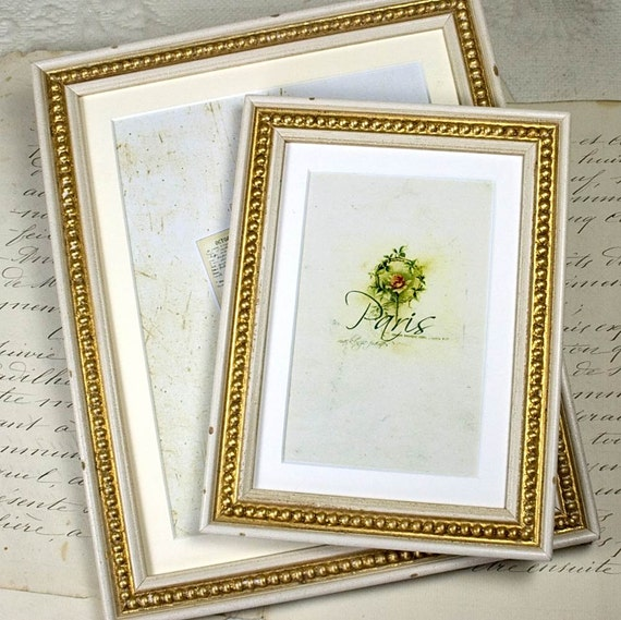 5x7 inch Old White & Gold Boules Photo Frame in Shabby Cottage Antique Style also 5x6 inch choice/Wedding/Office Desktop/Family Photo Frame