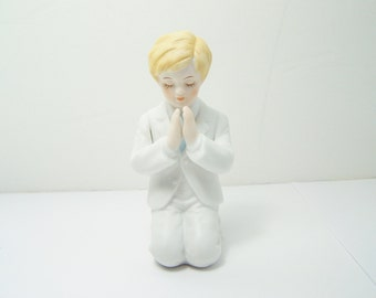 Enesco Communion Boy Figurine, Vintage 1987 Kneeling Boy, Blonde Praying Religious Figurine, Enesco Collectible
