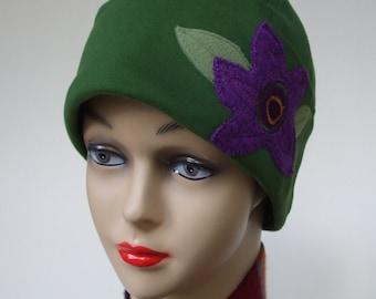 Organic Cotton Cap Hat | Chemo Headwear Women XL, XXL | Natural Green | Beanie Hat Cap