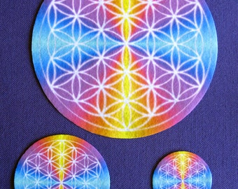 "Flower of Life Altar Cloth, Crystal Grid ""Charger"" Set of 3."