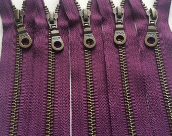 Metal Teeth Zippers- 12 Inch YKK Antique Brass Donut Pull Number 5s- 265 Eggplant Purple- 5pcs