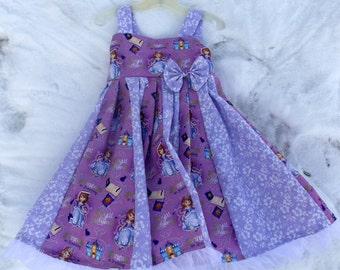 custom boutique twirl dress made with disney sofia the first  fabric size 2T-6X