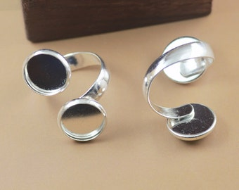 Ring Blanks --5pcs Bright Silver Ring Base 12mm pad L07392