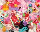 Super Mix Resin Flatback Cabochons and Pendants - Candy Characters Bows etc - For Decoden + Jewelry Design - Random Assortment - 30 pcs set