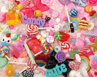 Super Mix RANDOM Resin Flatback Cabochons and Pendants - Candy Characters Bows etc - For Decoden + Jewelry Design - Assortment - 50 pcs set