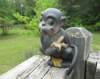 Vintage Rubber Squeaky Toy Monkey with Banana---