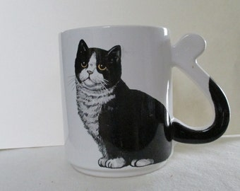 Vintage Cat Coffee Cup--Black and White Cat Coffee Cup--Tea Cup--Japan--Ceramic Cup--Purrrfect for Breakfast Tea--Feline--Cat Lover