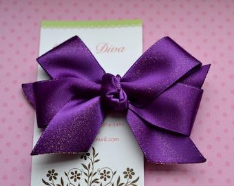 Shimmery Deep Purple Classic Diva Bow