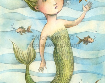 Original 8x10 Drawing and Painting -- Mermaid