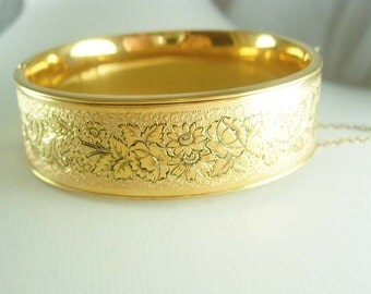 Antique Victorian enamel bracelet taille d' epergne wedding bangle 12kt gold filled