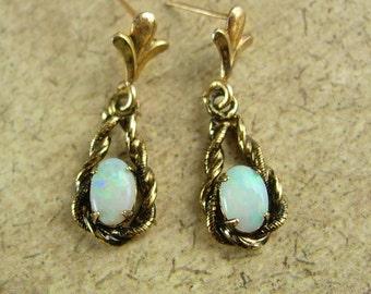 Genuine Opal GOLD earrings Dangle drop pierced 10kt Eye stone Cupid stone June birthstone Gemini Cancer Edwardian style