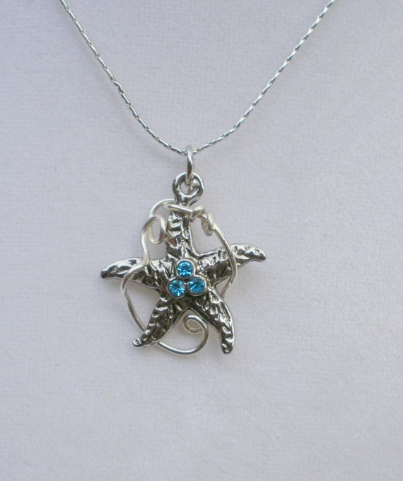 Starfish Necklace, silver-plated, contemporary design, nautical jewelry