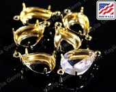 14x10 Pear Tear Drop Prong Setting Pure 24K Gold Plated Open Back 1 Ring / 2 Ring Made In the USA -6pcs