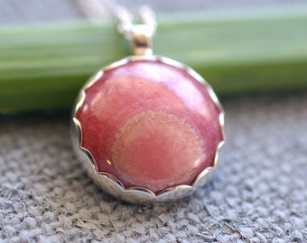 Petal Pink Rhodochrosite Pendant In Sterling Silver. Ready To Ship