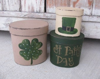 Primitive St. Patrick's Day Clover Shamrock Hand Painted Stacking Boxes GCC2737