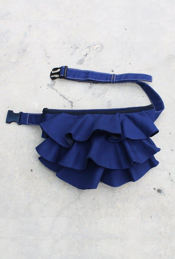 Ruffled Waist Pouch in Royal Blue, Fanny Pack, Travel Pouch, Hip Bag, Zipper Pouch, Bridesmaid Gift, Gift  for Women - RWP -  SALE 30% OFF