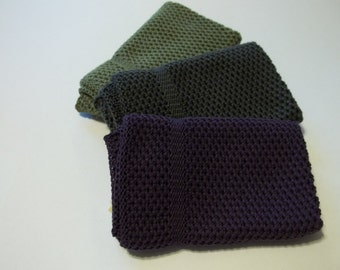 Dish Cloths Knit in Cotton in Eggplant, Anthracite and Fern, Knit Dishcloths, Knit Washcloths, Wash Cloth