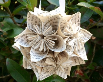 Great Expectations Book Small Paper Flower Pomander Ornament