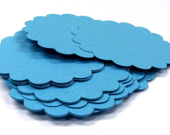 18 Round Scallop Tags . Choose from 69 Colors . 3 inch diameter