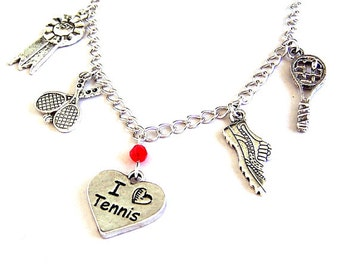 Tennis necklace or tennis bracelet, tennis charm bracelet or tennis charm necklace, antiqued silver