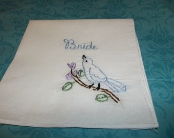 Something blue bird hanky, READY TO MAILbouquet wrap, hand embroidered, bridal gift, bird on a branch, wedding colors welcome, laceless