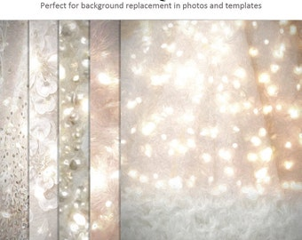 Digital Photography Background Set - WHITE CHRISTMAS - (5) 16x20 Large Backgrounds for Scrap Bookers and Photographers.