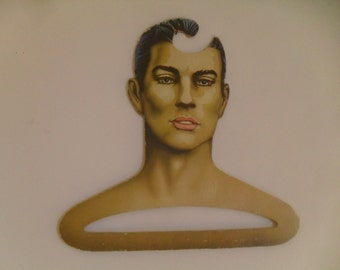 Vintage Mans Head Face Clothing Hanger Handsome Retro Gentlemen Store Display, Boutique or Home Décor 1960's 70s
