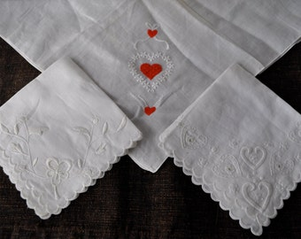 Three Beautiful Embroidered Handkerchiefs/Vintage 1950s/Hearts and Flowers Hankies