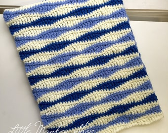 Baby Blanket Crochet PATTERN - Wave Stitch - Baby Blanket Crochet Pattern - Benjamin