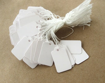 Jewelry price tags - Blank white rectangular tags - Set of 100 (XT104)