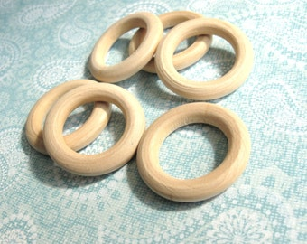 Wood Beads Rings, Rondelle, No Hole, Unfinished, 34mm in diameter - Set of 6