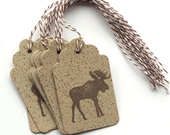 Moose Gift tags - Moose Party Tags - paper gift tags - baby shower tags - party favor tags - Kraft Favor Tags - masculine tags - birthday