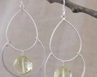 Lemon Quartz Earrings Lemon Chandelier Earrings Lemon Earrings Yellow Chandelier Earrings
